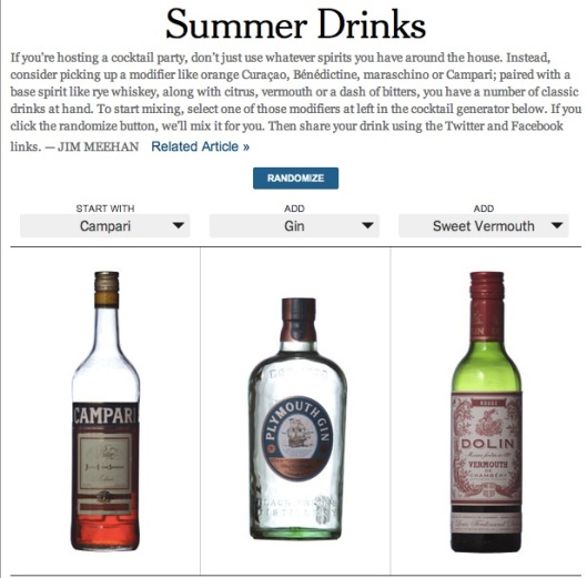 summer cocktail generator from NYT