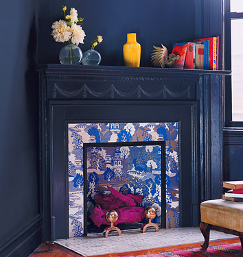 chinoiserie fabric covered fireplace