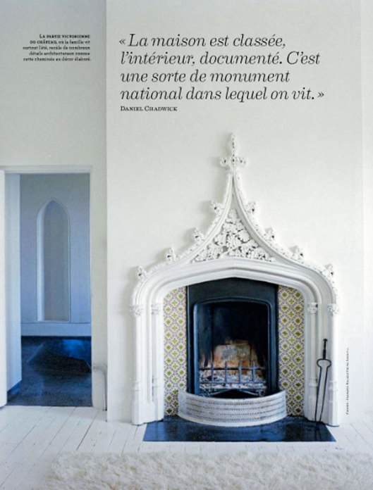 moroccan tiled fireplace