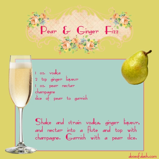 pear ginger fizz champagne cocktail