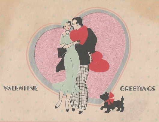 art deco valentine card