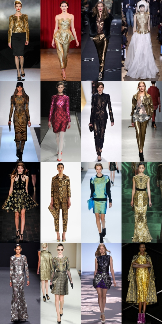 metallic fashion runway