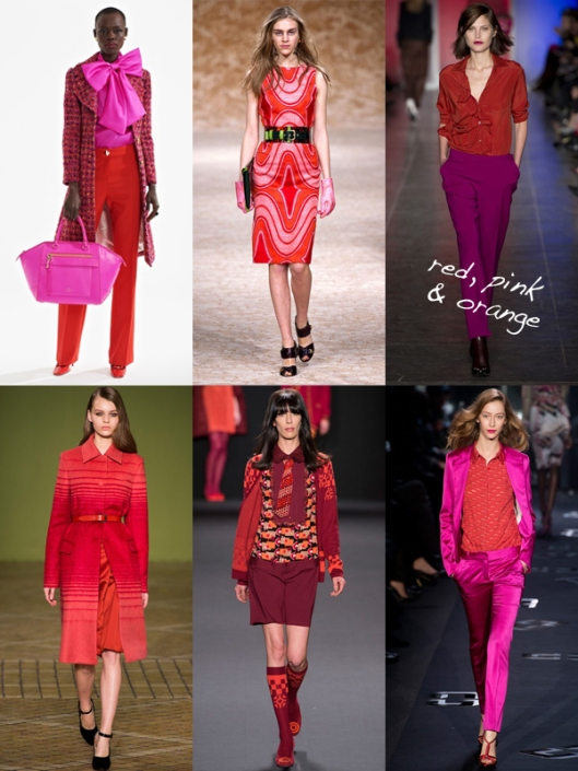 red pink orange fashion runway