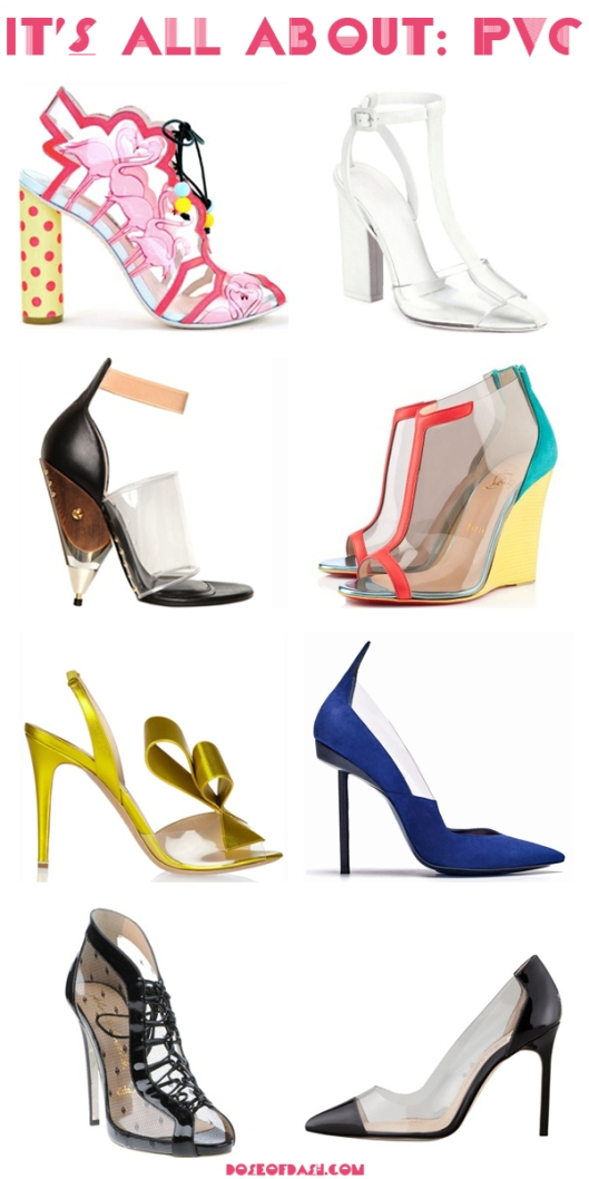 PVC shoes heels wedges pumps
