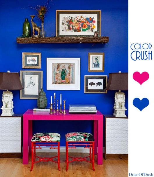 hot pink electric blue interior decor
