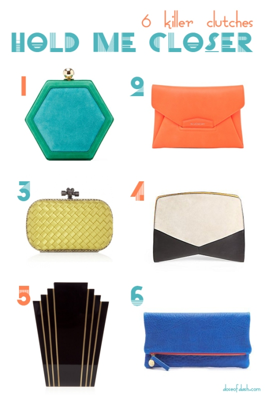 designer geometric color block clutches