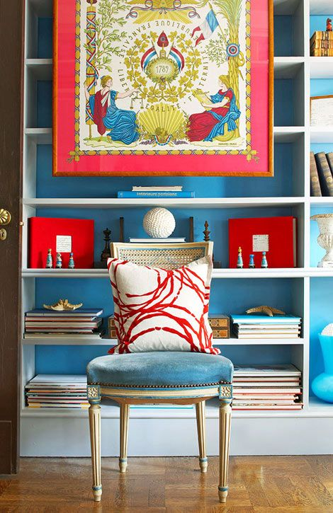 hermes scarf framed and blue and red accents