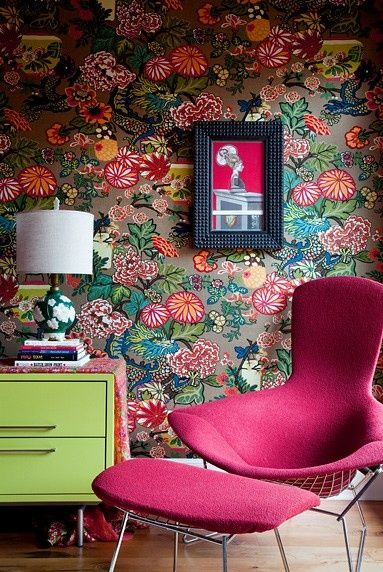 retro furniture and flower wallpaper