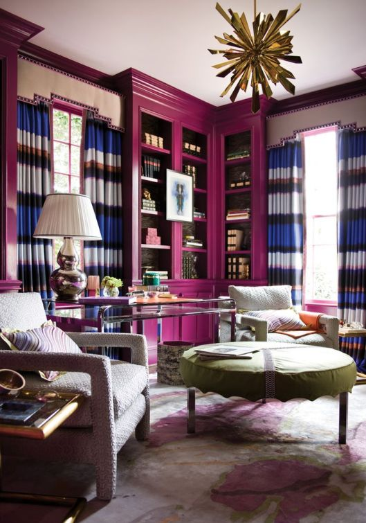 hot pink lacquered built-ins and striped curtains