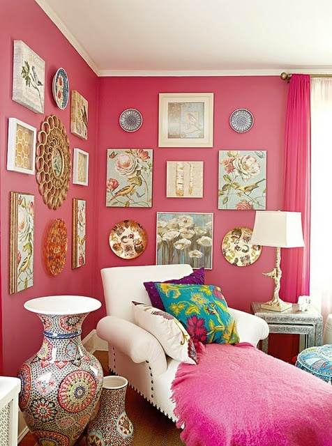 pink walls with white accents