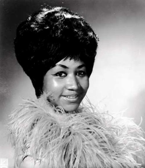 Aretha Franklin boa portrait