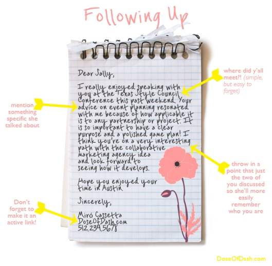 how to write a follow up letter after a conference