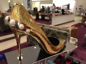 alexander mcqueen gold pumps with pearls