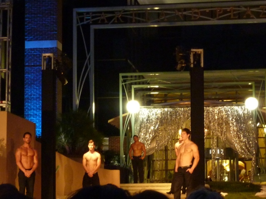 shirtless men at fashion show