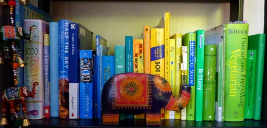 blue green yellow books