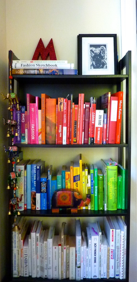 bookshelf color coded