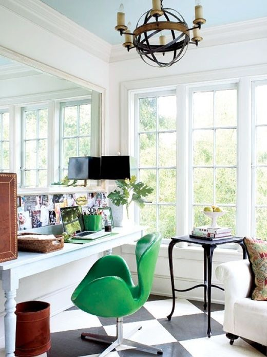 classic office with modern green chair