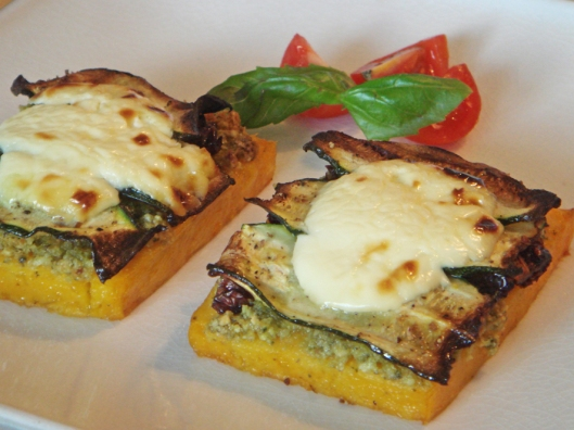 grilled polenta with pesto and tomatoes