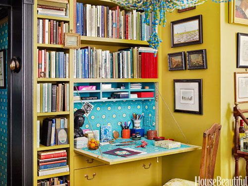 yellow hide-away desk