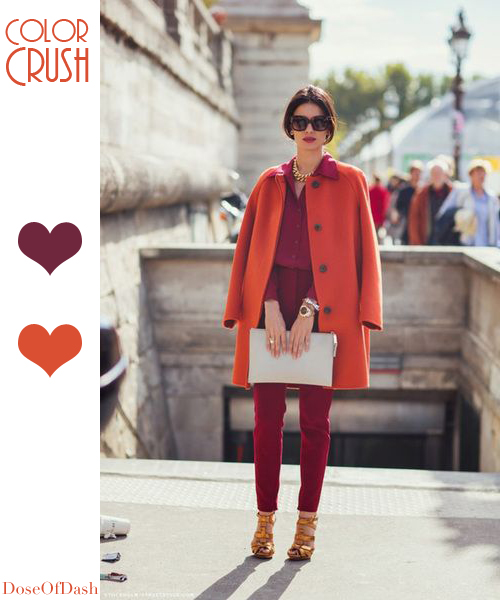 orange burgundy colour combo