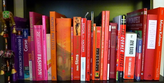red pink purple books