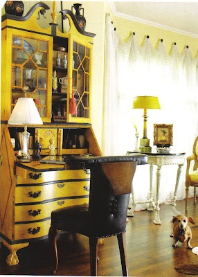 yellow secretary desk