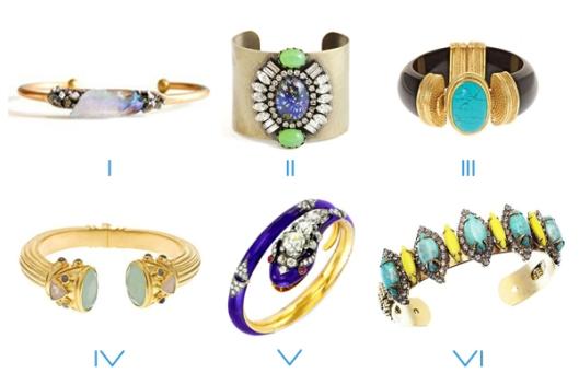 fashion cuff bracelets gems stones