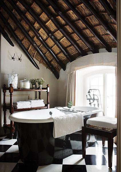 black and white harlequin antique bath