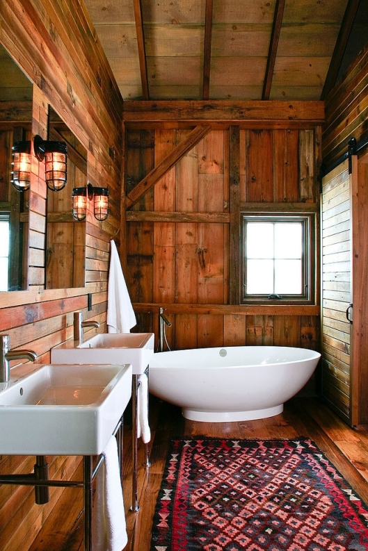 elegant wood panel rustic bathroom