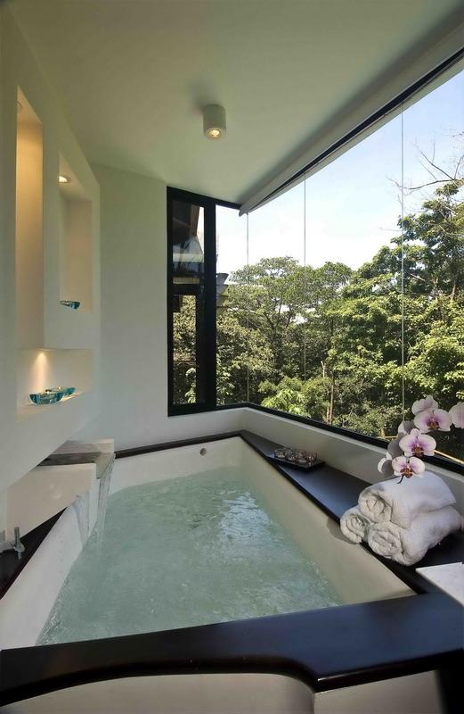 bath windows overlooking landscape