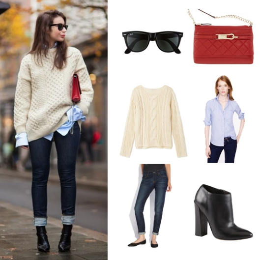 preppy street style cable knit sweater